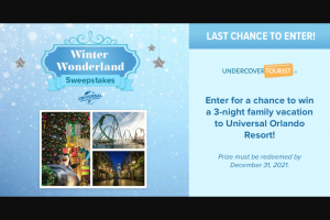 Undercover Tourist – Winter Wonderland – Win a three night stay in one room (quadruple occupancy