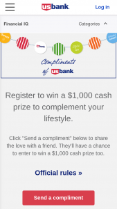 Us Bank – Compliments Of Us Bank Sweepstakes