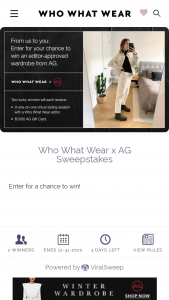 Who What Wear – Ag – Win one (1) $1000 AG gift card and a one-on-one virtual styling session with a Who What Wear editor