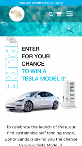 Bondi Sands – Tesla – Win one Tesla Model 3 (color