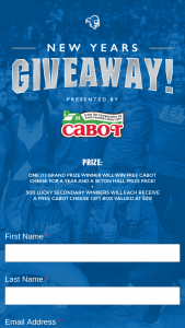 Cabot Creamery – New Year Giveaway – Win (i) Free Cabot Cheese for a Year ($550 Value) and