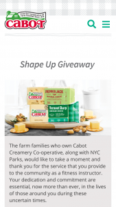 Cabot Creamery – Shape Up Giveaway Sweepstakes
