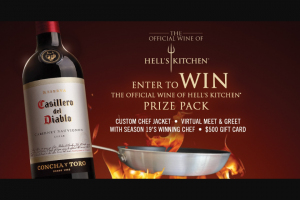 Casillero Del Diablo – Wine Of Hell's Kitchen – Win A $500 VISA GIFT CARD AND A CUSTOM HELL'S KITCHEN CHEF JACKET (ARV $805.00).