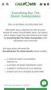 Caulipower – Everything But The Glulten – Win twenty-four (24) FREE CAULIPOWER product coupons