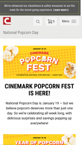 Cinemark – Year Of Popcorn Instant Win – Win of a Year of Popcorn awarded as (27) coupons each good for one large popcorn representing a bi-weekly annual supply of popcorn