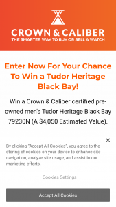 Crown & Caliber – Tudor Heritage Black Bay Black 79230n – Win is one Tudor Heritage Black Bay Black 79230N from Crown & Caliber