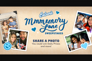 Culver's – Mmmemory Lane – Win a branded photo frame set and two $250 Culver's gift cards