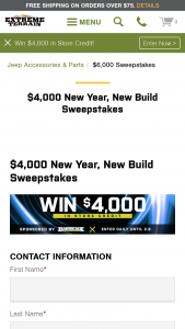 Extreme Terrain – 2021 $4000 New Year New Build – Win $4000.00 in credit to use for the purchase of any parts and accessories available at extremeterraincom