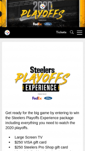 Fedex And Ford – 2020 Pittsburgh Steelers Playoff Experience – Win a prize package containing a 70 inch big screen TV