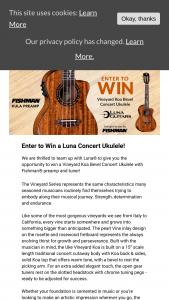 Fishman – Win A Luna Concert Ukulele – Win Luna Uke Vineyard Koa Bevel Concert with Fishman Preamp