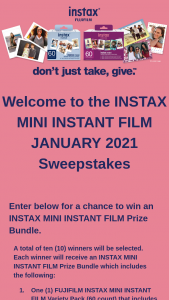 Fujifilm – Instax Mini Instant Film January 2021 Sweepstakes