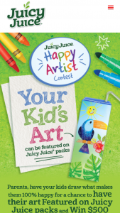 Harvest Hill Beverage – Juicy Juice Happy Artist Contest – Limited Entry – Win may see their Child's artwork (Drawing) featured on Juicy Juice® product packaging as well as a $500 Sponsor-selected gift card for art supplies