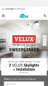 """HGTV – Velux Skylight – Win two VELUX skylights and installation (the """"Grand Prize"""")."""
