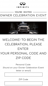 Infiniti – Owner Celebraton Event Sweepstakes