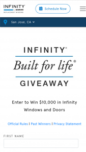 Infinity Windows – Built For Life Giveaway – Win awarded for Round One and one Grand Prize will be awarded for Round Two