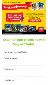 Joann – Lego Bundle Giveaway – Win a curated LEGO® Bundle (retail value $2500).