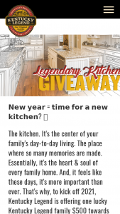 Kentucky Legend – Legendary Kitchen Giveaway – Win of the calendar year and a copy of such form will be filed with the IRS