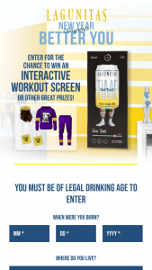 Lagunitas Brewing – New Year Slightly Better You – Win ONE MIRROR WORKOUT SCREEN