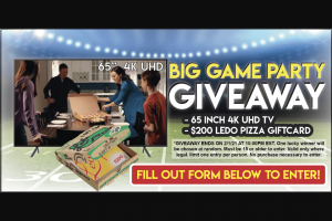 Ledo Pizza – Big Game Giveaway Sweepstakes