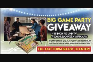 Ledo Pizza – Big Game Giveaway Sweepstakes