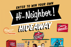 Narragansett Beer – Hi Neighbor Hideaway Giveaway – Win bucket a set of our famous rebus puzzle coasters a 'Gansett bottle opener and a Hi Neighbor bumper sticker