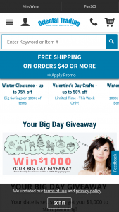 "Oriental Trading Company – Your Big Day $1000 Monthly Giveaway – Win form of one $1000 worth of OTC Gift Cards for a total monthly value of $1000 will be awarded each month (""Monthly Prize"") for a total of twelve (12) Giveaway Prizes (""Giveaway Prizes"")."