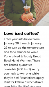 Panera – Iced And Toasty Sweepstakes