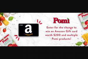Pomi USA – New Year Amazon Gift Card – Win Prize package including ONE (1) $200 Amazon Gift Card