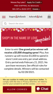 Rogers & Hollands – Shop In The Name Of Love Sweepstakes