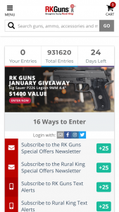 "Rural King – Monthly Gun Giveaway – Win (1) Sig Sauer P226 Legion 9mm Pistol with an Approximate Retail Value (""ARV"") of $1413."