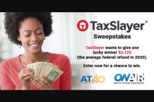 Ryan Seacrest -Taxslayer – Win the following One check in the amount of $3125.00 made payable to the Winner ARV $3125.00.