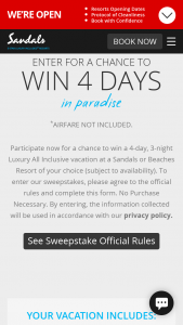 Sandals And Beaches – Giveaway Q1 2021 – Win  Period