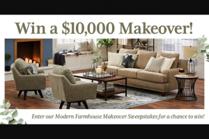Slumberland Furniture – Modern Farmhouse Makeover – Win a $10000 Slumberland credit towards the purchase of merchandise at Slumberland stores or on Slumberlandcom