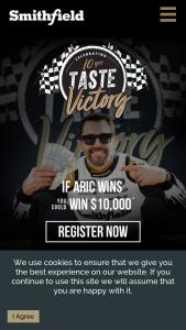Smithfield Foods – Taste Victory – Win Car ARV $55 (15) Tumbler ARV $10 (14) Folding Chair ARV $30 and (42) $10 Walmart eCard