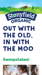 """Stonyfield – Out With The Old In With The Moo – Win be awarded to each of the one hundred (100) winners will be one (1) Stonyfield Stuffed Plush Cow with an estimated retail value (""""ARV"""") of $15.00."""