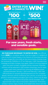 Talking Rain Beverage Sparkling Ice – New Year Sweepstakes