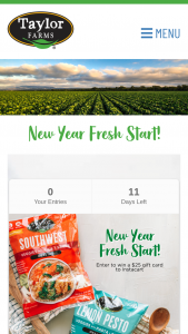 Taylor Farms – 2021 New Year Fresh Start – Win a $25 giftcard to Instacart