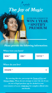 The Wine Group – Cupcake Joy Of Music – Win one code for a one year of subscription to Spotify Premium