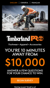 Timberland Pro – $10000 – Win a check of $7000 USD