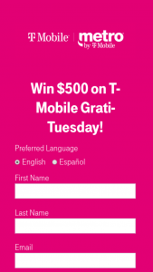 T-Mobile – $500 On T-Mobile Gratituesday Sweepstakes