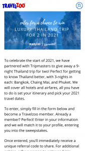 Travelzoo – Tripmasterscom Sweepstakes