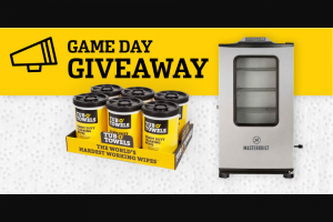 Tub O' Towels – Game Day Giveaway – Win One (1) case of Tub O' Towels Heavy Duty Cleaning Wipes (SKU# TW90) that contains six (6) 90-count tubs shipped directly to the winner's address