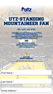 Utz – Standing Mountaineer Fan – Win (i) One (1) Personalized Video Message from WVU Head Coach Bob Huggins