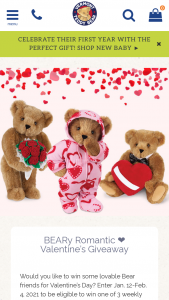 Vermont Teddy Bear – Beary Romantic Valentine's Giveaway – Win (a Romantic At Heart Bear Sweetheart Hoodie Footie Bear and Rose Bouquet Bear) with a total retail value of $209.97.