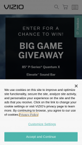 Vizio – Big Game Giveaway – Win for Weekly Giveaway ending on January 29 2021 and February 5th 2021  One (1) VIZIO 85″ P Series Class 4K UHD Quantum Smartcast Smart TV HDR (Model No