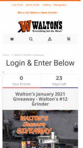 Walton's – January Giveaway Sweepstakes