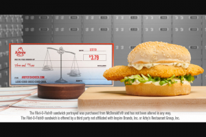 Arby's – Fish Check  – Win The prize is a $379 check made payable in the winner's name