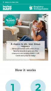 Buybuy Baby – Registry – Win buybuy Baby eGift Cards ARV $5000.