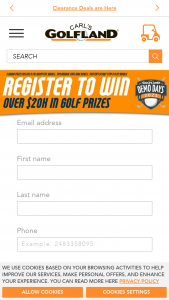 Carl's Golfland – Demo Days 2021 Sweepstakes