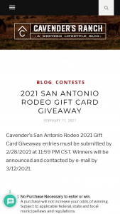 Cavender's – 2021 San Antonio Rodeo Gift Card Giveaway – Win one (1) $500 Cavender's Gift Card